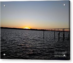 Sun Going Down Near Gov Thomas Johnson Bridge Acrylic Print