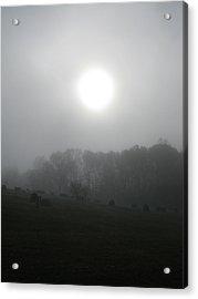 Sun In Fog Over Cemetery Acrylic Print by Richard Singleton
