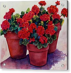 Acrylic Print featuring the painting Sun-kissed Geraniums by Ann Peck