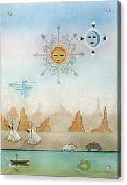 Sun Moon And Turtles Acrylic Print by Sally Appleby