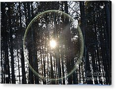 Sun Or Lens Flare In Between The Woods -georgia Acrylic Print
