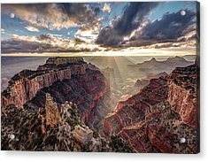 Acrylic Print featuring the photograph Sun Rays At Cape Royal by Pierre Leclerc Photography