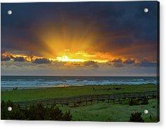 Sun Rays At Long Beach Washington During Sunset Acrylic Print