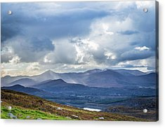 Sun Rays Piercing Through The Clouds Touching The Irish Landscap Acrylic Print by Semmick Photo