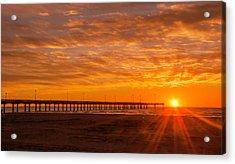 Sun Rising At Port Aransas Pier Acrylic Print