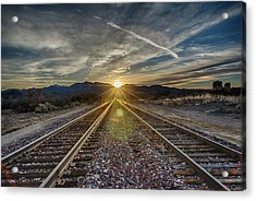 Sun Sets At The End Of The Line Acrylic Print