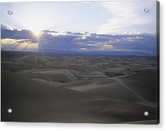 Sun Sets Over Miles Of Sand Dunes Acrylic Print by Taylor S. Kennedy