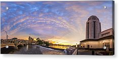 Sun Setting On Downtown Saint Charles Illinois  Acrylic Print by Lorraine Matti