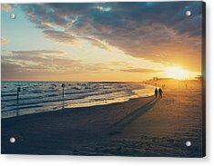 Sun Setting On Galveston Beach Acrylic Print
