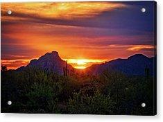Acrylic Print featuring the photograph Sun Setting On Red Mountain  by Saija Lehtonen