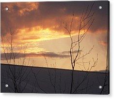 Sun Setting Orange Acrylic Print by Deborah Finley
