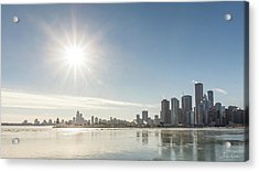 Sun Setting Over Chicago Acrylic Print
