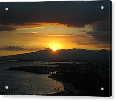 Sun Setting Over Honolulu Acrylic Print by Ashley Butler