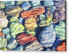 Sun Streaked River Rocks Acrylic Print