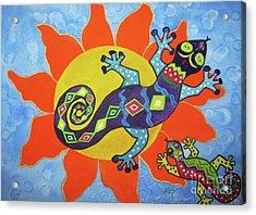 Sunbathing Lizards Acrylic Print by Ellen Levinson