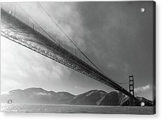 Sunbeams Through The Golden Gate Black And White Acrylic Print by Scott Campbell