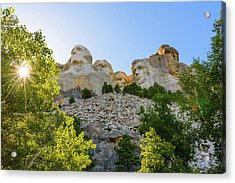 Sunburst And Mount Rushmore 1 Acrylic Print by AMB Fine Art Photography