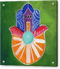 Sunburst Hamsa Acrylic Print by Linda Woods