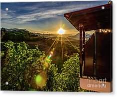 Sunburst View From Dellas Boutique Hotel Near Meteora In Kastraki, Kalambaka, Greece Acrylic Print