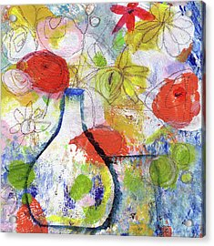 Sunday Market Flowers- Art By Linda Woods Acrylic Print by Linda Woods