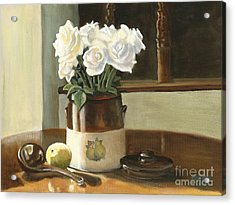 Acrylic Print featuring the painting Sunday Morning And Roses - Study by Marlene Book