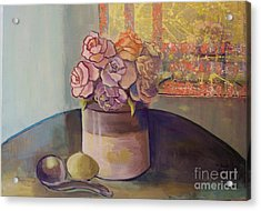 Sunday Morning Roses Through The Looking Glass Acrylic Print by Marlene Book