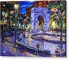 Sunday Night In Washington Square Park Acrylic Print by Arthur  Robins