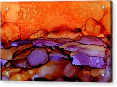 Sundown - Abstract Landscape Painting Acrylic Print by Michelle Wrighton