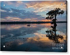 Sundown Kayaking At Lake Martin Louisiana Acrylic Print by Bonnie Barry