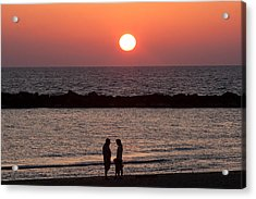 Sundown On Tel Aviv Beach Acrylic Print by Paco Feria