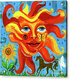 Acrylic Print featuring the painting Sunface With Butterfly And Horse by Genevieve Esson