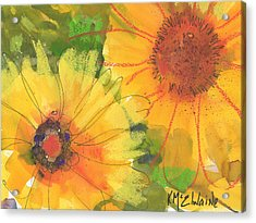 Big Sunflowers Watercolor And Pastel Painting Sf018 By Kmcelwaine Acrylic Print