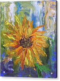 Sunflower Abstract Acrylic Print by Barbara Harper