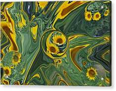 Sunflower Abstract Acrylic Print by Michelle  BarlondSmith