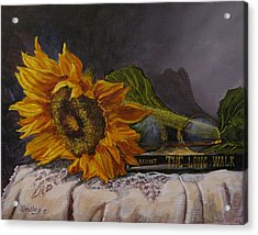 Sunflower And Book Acrylic Print
