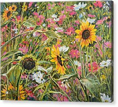 Acrylic Print featuring the painting Sunflower And Cosmos by Steve Spencer