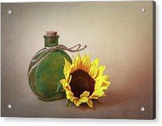 Sunflower And Green Glass Still Life Acrylic Print by Tom Mc Nemar