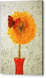 Sunflower And Red Butterfly Acrylic Print