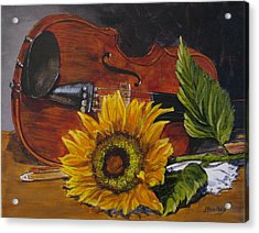 Sunflower And Violin Acrylic Print