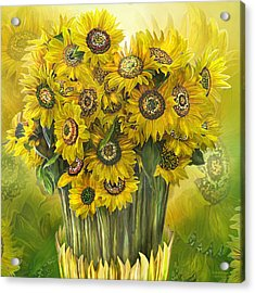 Acrylic Print featuring the mixed media Sunflower Bouquet by Carol Cavalaris