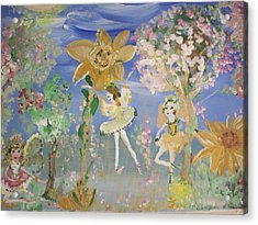 Acrylic Print featuring the painting Sunflower Fairies by Judith Desrosiers