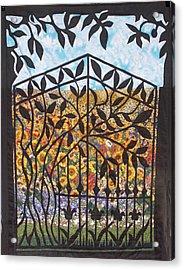 Sunflower Garden Gate Acrylic Print by Sarah Hornsby