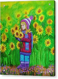 Sunflower Girl Acrylic Print by Nick Gustafson
