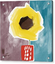 Sunflower In A Small Vase- Art By Linda Woods Acrylic Print