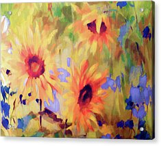 Sunflower Joy Watercolor Acrylic Print by Sandi OReilly