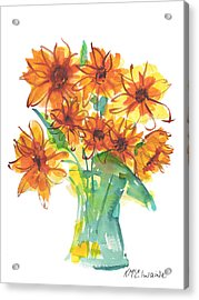Sunflower Medley II Watercolor Painting By Kmcelwaine Acrylic Print