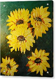 Acrylic Print featuring the painting Sunflower by Ray Khalife