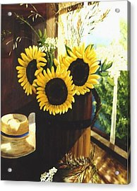 Acrylic Print featuring the painting Sunflower Sill by Renate Nadi Wesley