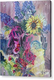 Sunflower Still Life Acrylic Print by Judy Via-Wolff