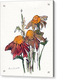 Acrylic Print featuring the painting Sunflower Trio #1 by Anne Duke